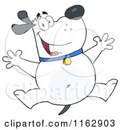 Cartoon Of A Happy Chubby White Dog Jumping Royalty Free Vector Clipart