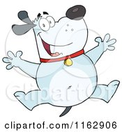 Cartoon Of A Happy Chubby Blue Dog Jumping Royalty Free Vector Clipart
