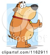 Cartoon Of A Happy Chubby Brown Dog Standing And Holding A Thumb Up Over Blue Royalty Free Vector Clipart