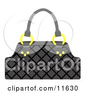 Black Handbag Purse With Golden Rings Clipart Picture