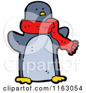 Cartoon Of A Penguin Wearing A Scarf Royalty Free Vector Illustration