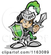 Cartoon Of A Tough Knight In Green Holding Up A Shield And A Sword Royalty Free Vector Clipart by Chromaco