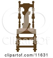 Brown Wood Chair Clipart Illustration