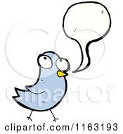Cartoon Of A Talking Bluebird Royalty Free Vector Illustration