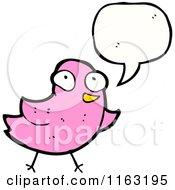 Cartoon Of A Talking Pink Bird Royalty Free Vector Illustration