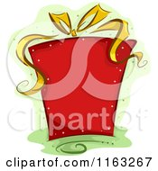 Cartoon Of A Sparkly Red Christmas Gift Box With A Golden Ribbon Over Green Royalty Free Vector Clipart