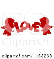 Cartoon Of Silhouetted Red Cupids With The Word Love Royalty Free Vector Clipart by BNP Design Studio