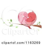 Cartoon Of Cuddling Love Birds Forming A Heart On A Branch Royalty Free Vector Clipart