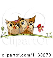 Cartoon Of A Cute Owl Pair Cuddling On A Branch With A Flower Royalty Free Vector Clipart by BNP Design Studio