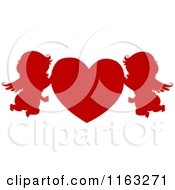 Cartoon Of Silhouetted Red Cupids With A Heart Royalty Free Vector Clipart by BNP Design Studio