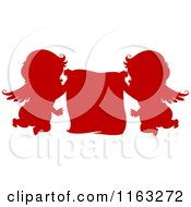 Cartoon Of Silhouetted Red Cupids Holding A Sign Royalty Free Vector Clipart by BNP Design Studio