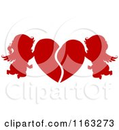 Cartoon Of Silhouetted Red Cupids Mending A Broken Heart Royalty Free Vector Clipart by BNP Design Studio