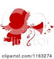Cartoon Of A Silhouetted Red Cupid Blowing A Horn With Music Notes Royalty Free Vector Clipart by BNP Design Studio