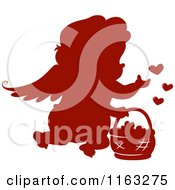 Cartoon Of A Silhouetted Red Cupid With A Basket Of Hearts Royalty Free Vector Clipart by BNP Design Studio