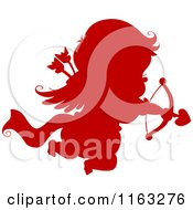 Cartoon Of A Silhouetted Red Cupid Aiming His Arrow Royalty Free Vector Clipart by BNP Design Studio
