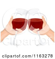 Cartoon Of A Pair Of Hands Clinking Their Wine Glasses Together In A Toast Royalty Free Vector Clipart