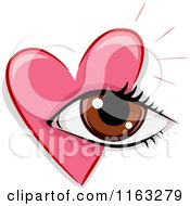Cartoon Of A Pink Heart And Eye Royalty Free Vector Clipart by BNP Design Studio