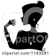 Cartoon Of A Silhouetted Woman Wearing Jewelery Royalty Free Vector Clipart