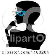 Cartoon Of A Silhouetted Woman With A Blue Mask Over Her Eyes Royalty Free Vector Clipart