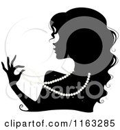 Cartoon Of A Silhouetted Woman Wearing A Pearl Necklace Royalty Free Vector Clipart