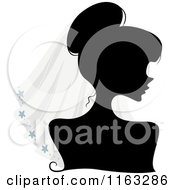 Cartoon Of A Silhouetted Bride Woman Wearing A Veil Royalty Free Vector Clipart