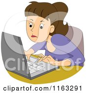 Cartoon Of A Determined Female Author Blogger Or Student Typing On A Laptop Royalty Free Vector Clipart