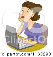 Cartoon Of A Thinking Female Author Blogger Or Student Typing On A Laptop Royalty Free Vector Clipart