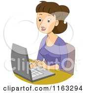 Cartoon Of A Happy Female Author Blogger Or Student Typing On A Laptop Royalty Free Vector Clipart by BNP Design Studio
