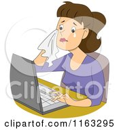 Cartoon Of A Crying Female Author Blogger Or Student Typing On A Laptop Royalty Free Vector Clipart by BNP Design Studio