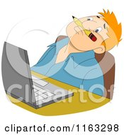 Cartoon Of A Male Author Or Student Balanching A Pencil On His Upper Lip And Thinking By A Laptop Royalty Free Vector Clipart