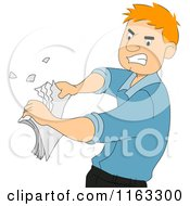 Cartoon Of A Male Author Or Student Ripping Up Papers Royalty Free Vector Clipart by BNP Design Studio