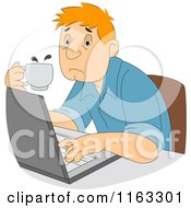 Cartoon Of A Tired Male Author Or Student Typing And Holding Coffee Royalty Free Vector Clipart by BNP Design Studio