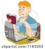 Cartoon Of A Male Author Or Student Reading A Dictionary Over His Laptop Royalty Free Vector Clipart
