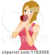 Cartoon Of A Dirty Blond Woman Eating An Apple Royalty Free Vector Clipart