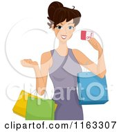 Cartoon Of A Woman Shopping And Holding A Coupon Royalty Free Vector Clipart