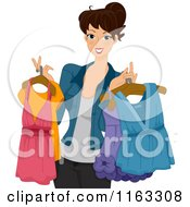 Cartoon Of A Happy Woman Holding Clothes On Hangers Royalty Free Vector Clipart