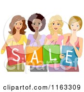 Cartoon Of A Diverse Group Of Ladies Holding Sale Shopping Bags Royalty Free Vector Clipart