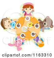 Cartoon Of Children And Toys At A Tea Party Table Royalty Free Vector Clipart