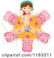 Cartoon Of A Doll At A Tea Party Table Royalty Free Vector Clipart by BNP Design Studio