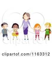 Cartoon Of A Happy Teaher Holding Hands With Her Diverse Students Royalty Free Vector Clipart