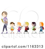 Cartoon Of A Female Teacher Leading A Line Of Diverse Children Royalty Free Vector Clipart