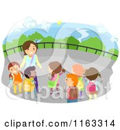 Cartoon Of A Female Teacher And Happy Diverse School Children On A Field Trip Royalty Free Vector Clipart