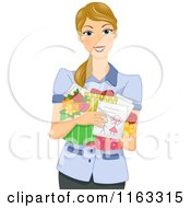 Cartoon Of A Blond Teacher Or Mother Holding Gifts Royalty Free Vector Clipart