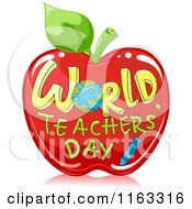 Cartoon Of World Teachers Day Text On A Red Apple Royalty Free Vector Clipart