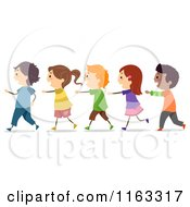 Cartoon Of Happy Diverse Students Walking In A Single File Line Royalty Free Vector Clipart