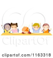 Cartoon Of Happy Diverse Students And One Tired One At A Desk Royalty Free Vector Clipart