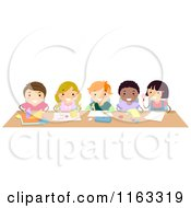 Cartoon Of Happy Diverse Students Working On Art Projects At A Desk Royalty Free Vector Clipart