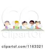 Cartoon Of Happy Diverse Students Holding Papers At A Desk Royalty Free Vector Clipart