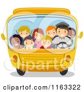 Cartoon Of Happy Diverse Children And A Driver In A Packed School Bus Royalty Free Vector Clipart