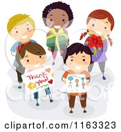 Cartoon Of A Diverse Group Of School Children Holding Gifts For Their Teacher Royalty Free Vector Clipart